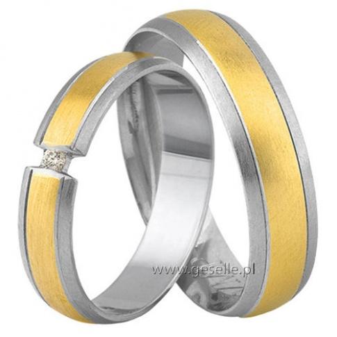 Oryginalne obrączki ślubne z białego i żółtego złota