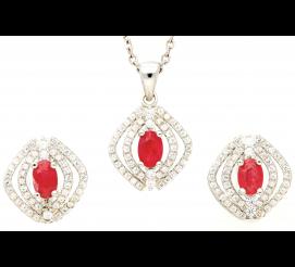 Oryginalny komplet biżuterii z urzekającymi rubinami w srebrze próby 925