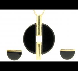 Komplet biżuterii z eleganckim onyksem w pozłacanym srebrze