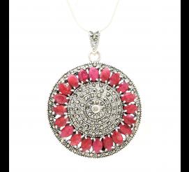 Przepiękna zawieszka-medalion z rubinami i markazytami ze srebra