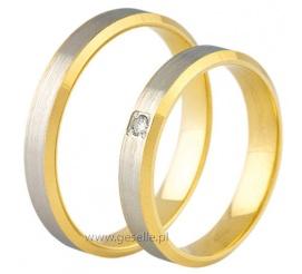 Delikatny duet obrączek ślubnychwykonany z białego i żółtego złota próby 585