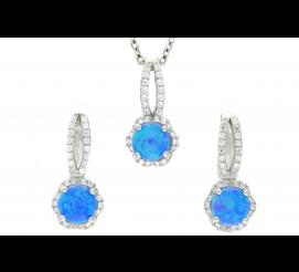 Srebrny komplet kolczyków wraz z zawieszką z przepięknym niebieskim kwarcem