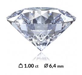 Ekskluzywny diament o szlifie brylantowym, masie 1,00 ct, najlepszej barwie D oraz czystości SI2 z międzynarodowym certyfikatem (HRD, IGI, GIA)