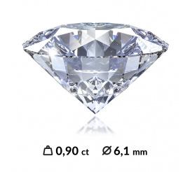 Idealny brylant o masie 0,90 ct SI2/D z certyfikatem Instytutu Gemmologicznego (HRD, IGI, GIA)