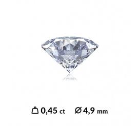 Niezwykle lśniący diament o szlifie brylantowym 0,45 ct SI2/I z certyfikatem międzynarodowym (HRD, IGI,GIA)