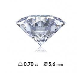 Oszlifowany diament o masie 0,70 ct SI2/G z międzynarodowym certyfikatem (HRD, GIA, IGI)