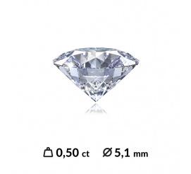 Niesamowity diament o szlifie brylantowym 0,50 ct SI2/H z dodatkowym certyfikatem międzynarodowym (HRD, IGI,GIA)
