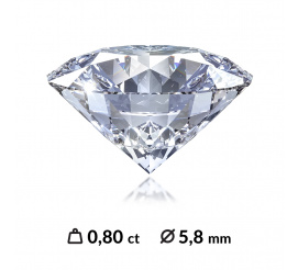 Śliczny diament o szlifie brylantowym z międzynarodowym certyfikatem (HRD, IGI, GIA) o masie 0,80 ct SI1/G