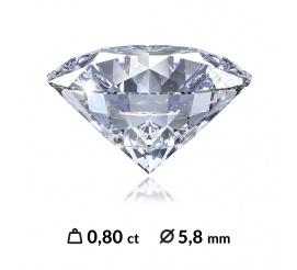 Doskonały diament o szlifie brylantowym 0,80 ct z czystością SI1 oraz najlepszą barwą D z międzynrodowym certyfikatem (HRD, IGI, GIA)