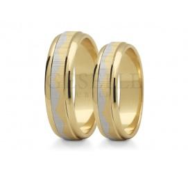 Dwukolorowe złoto! Eleganckie obrączki ślubne z pięknym matem i oryginalną linią układającą się w kształt korony
