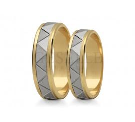 Niezwykle efektowne, dwukolorowe obrączki ślubne z ozdobną szyną wykonane z 14 karatowego złota