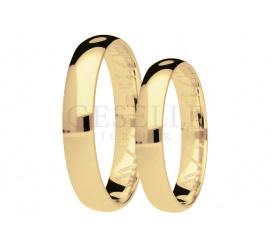 Ponadczasowe półokrągłe obrączki ślubne z żółtego złota, szerokość 3,5 mm