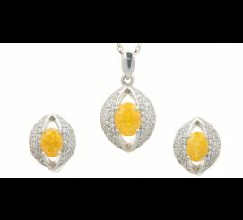 Niezwykły komplet biżuterii srebrnej z żółtym kwarcem oraz cyrkoniamii