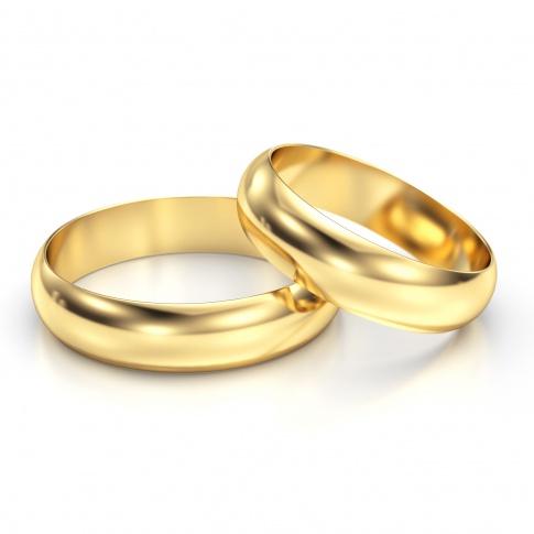 Lśniący duet półokrągłych obrączek ślubnych z żółtego złota, szerokość 6 mm