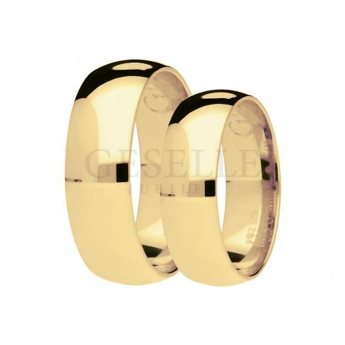 Lśniący duet półokrągłych obrączek ślubnych z żółtego 14-karatowego złota, szerokość 6 mm