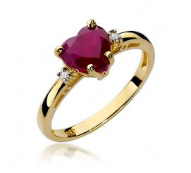 Pierścionek zaręczynowy z żółtego złota z rubinem W-12