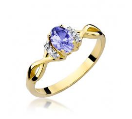 Pierścionek zaręczynowy z żółtego złota z tanzanitem W-19