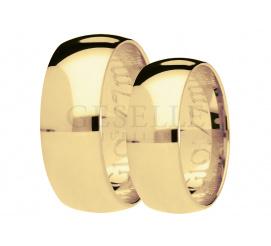 Pełne prostoty i elegancji pólokrągłe obrączki ślubne z żółtego, 14-karatowego złota, szerokość 7 mm