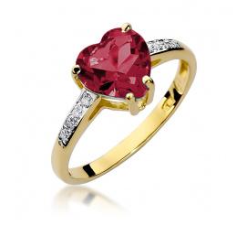Pierścionek zaręczynowy z żółtego złota z rubinem W-31