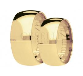 Klasyczne i ponadczasowe półokrągłe obrączki ślubne z żółtego zlota, szerokość 8 mm - pełen blask i styl