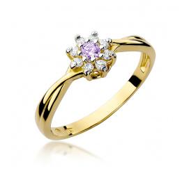 Pierścionek zaręczynowy z żółtego złota z ametystem W-72