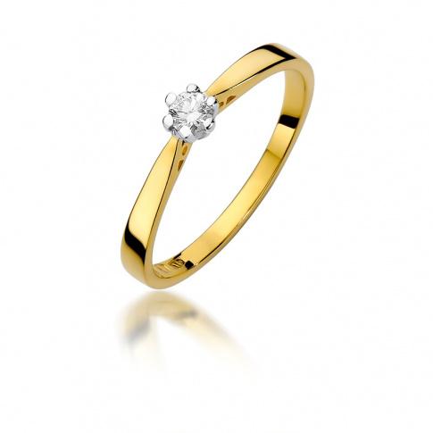 Pierścionek zaręczynowy z żółtego złota z brylantem 0,10 ct W-229