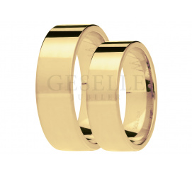 Piękny duet ponadczasowych obrączek ślubnych z żóltego złota pr. 585, szerokość 6 mm