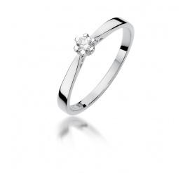 Pierścionek zaręczynowy z białego złota z brylantem 0,10 ct W-229