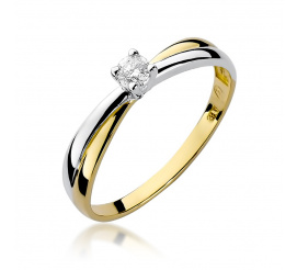 Pierścionek zaręczynowy z żółtego złota z brylantem 0,08 ct W-230