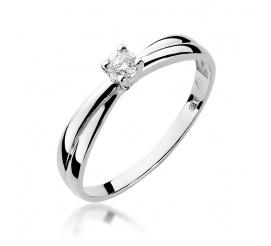 Pierścionek zaręczynowy z białego złota z brylantem 0,10 ct W-230