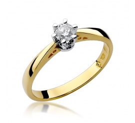 Pierścionek zaręczynowy z żółtego złota z brylantem 0,25 ct W-234
