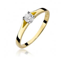 Pierścionek zaręczynowy z żółtego złota z brylantem 0,20 ct W-240