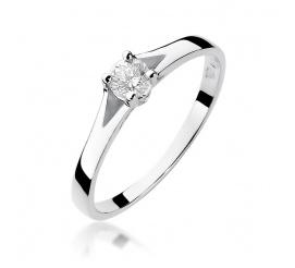 Pierścionek zaręczynowy z białego złota z brylantem 0,20 ct W-240