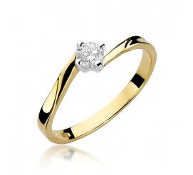 Pierścionek zaręczynowy z żółtego złota z brylantem 0,20 ct W-243