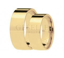 Ponadczasowy duet obrączek ślubnych z żółtego, 14-karatowego złota, szerokość 7 mm