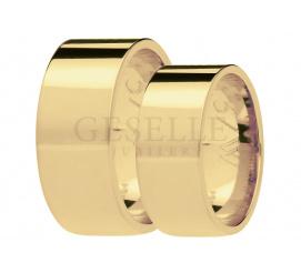Prosty komplet obrączek ślubnych z żółtego złota , szerokość 8 mm