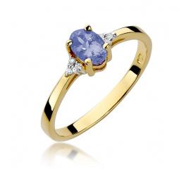 Pierścionek zaręczynowy z żółtego złota z tanzanitem W-301
