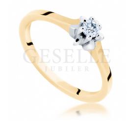 Zaręczyny w klasycznym stylu - elegancki pierścionek z żółtego kruszcu z brylantem 0.10 ct pr. 585