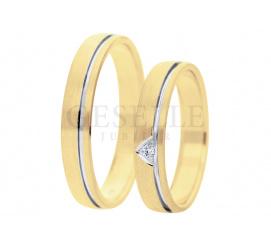 Pełne blasku obrączki ślubne z dwóch kolorów złota pr. 585 - lśniąca linia, dekoracyjny mat i pełna blasku cyrkonia lub brylant, szerokość 4 mm