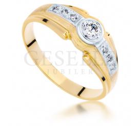 Bogaty pierścionek z dwukolorowego złota z brylantami 0.50 ct SI/H pr. 585