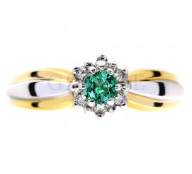 Nietuzinkowy pierścionek zaręczynowy ze szmaragdem i brylantami 0.06 ct - modny wzór