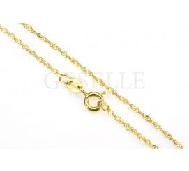 Elegancki i uniwersalny łańcuszek singapur z żółtego złota, 42 cm