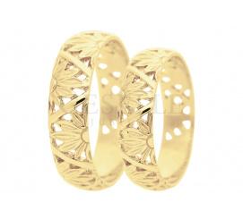 Oryginalne obrączki ślubne z motywem słonecznym - żółte złoto, wysoka jakość, szerokość 5,5 mm