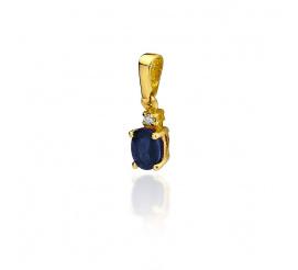 Delikatna zawieszka z żółtego  złota z szafirem i brylantem