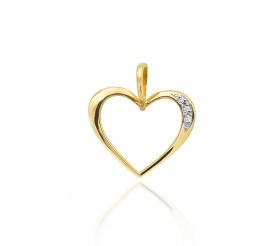 Przepiękna zawieszka w kształcie serca z brylantami z żółtego złota próby 585