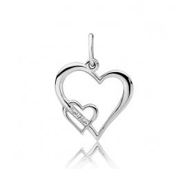 Zjawiskowa zawieszka w kształcie serca z brylantami wykonana z białego złota pr.585
