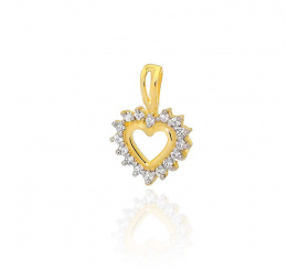 Piękna zawieszka w kształcie serca z lśniącymi brylantami w żółtym złocie