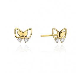 Urocze kolczyki motylki z żółtego złota z brylantami