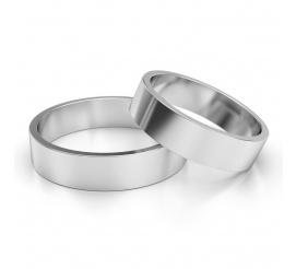 Popularna para szerokich obrączek ślubnych z białego złota, w klasycznym stylu, szerokość 6mm