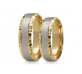 Stylowy duet obrączek z dwóch kolorów złota próby 585 z ozdobną krawędzią